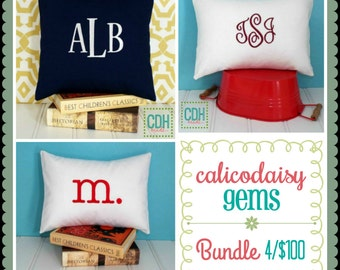 calicodaisy gems - A Bundle of Monogrammed Pillow Covers - Choice of Sizes and Colors