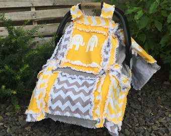 Elephant Car Seat Canopy- Gender Neutral Baby- Baby Boy Crib Bedding, Elephant Baby Quilt- Elephant Mini Crib Quilt Mustard Yellow Gray Girl