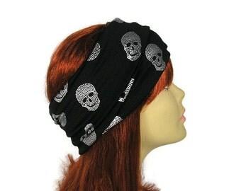 Skull Accessories Skull Apparel Skull Head Wrap Black and Silver Metallic Skull Headband Skull Headgear Biker Headgear Rocker Headband