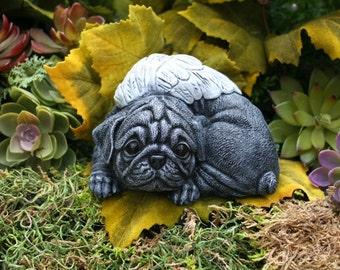 Black Pug Dog Angel Statue - Angel Dog In Solid Concrete - Garden Pet Memorial