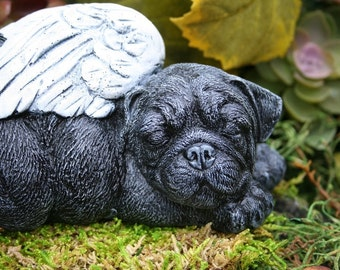 Angel Dog Black Pug Statue - Pet Memorial Dog Garden Sculpture - Concrete Garden Art