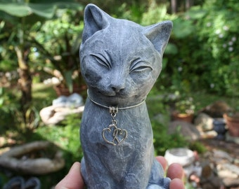 "Concrete Cat Statue Wearing Double Heart Necklace - ""My Cat Shares My Heart"" - Outdoor Garden Decor - Cat Memorial Statue"