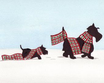 Pair of Scottish terriers (scotties) push their way through the snow / Lynch signed folk art print
