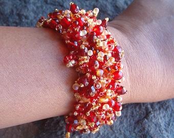 Bracelet, Beaded Bracelet, Beaded Fashion Bracelet, Red and Gold Beaded Bracelet, Woven Bracelet, Unique Bracelet