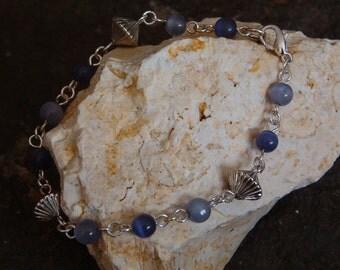Bracelet, Vintage Perwinkle Beaded Link Bracelet