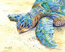 Sea Turtle Fine Art Print 8x10 - Kauai Art - Hawaiian Honu Painting - Childrens Wall Art - Ocean Sea Decor - Animal Giclee Print - Beach Art