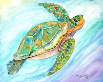 Sea Turtle Fine Art Print 8x10, Kauai Art, Hawaiian Honu Painting, Childrens Wall Art, Ocean Sea Decor, Swimming Turtle, Smiling Sea Turtle
