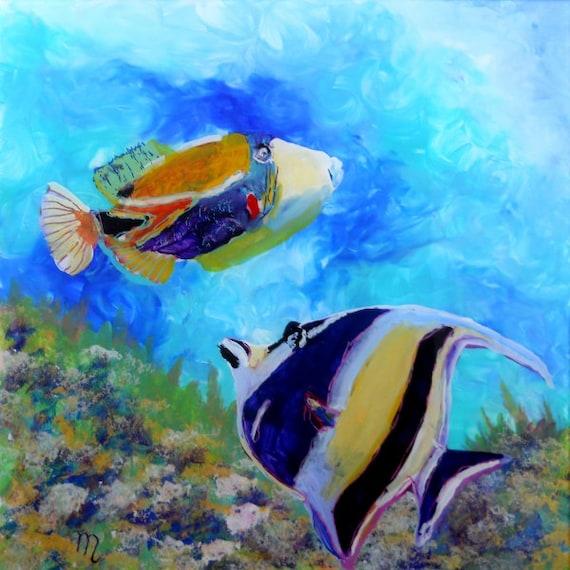 Hawaiian tropical fish 2 8 x 8 art print kauai hawaii for Tropic fish hawaii