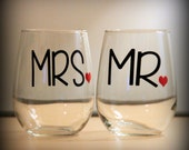 mr and mrs stemless wine glasses...  perfect gift for the newly engaged couple or for the wedding toast!