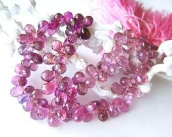Exquisite Pink Tourmaline Faceted Briolettes - Half Strand - 3.5 to 4.5mm - 4.5 Inches