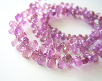 Natural Fuschia Sapphire Petite Briolettes - Mini Strand - 2.5 to 4mm - 2.5 Inches