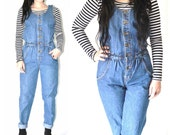 vintage 80s DENIM jumpsuit vintage 1980s Fiori cinched waist fitted OVERALL play suit jean romper