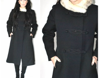 vintage 1960s PRINCESS coat 60s long black WOOL coat + white FUR collar mod Russian winter coat