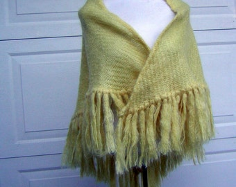 Handwoven Mohair Wool Shawl Long Fringe Extra Fine MADAWASKA WEAVERS Vintage 60s Exceptional Quality Feather weight Warmth New Old Stock