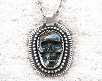 Skull necklace, hematite skull jewelry, mens necklace, sterling silver skull necklace, gift for him, mens jewelry, statement necklace