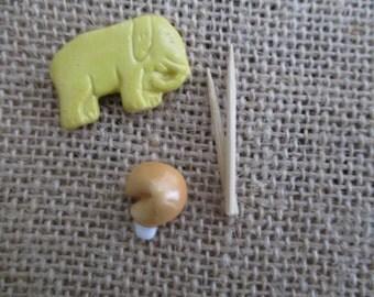 Ceramic Elephant and Ceramic Fortune Cookie Destach