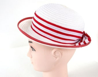 Vintage White Straw Bowler Hat Striped with Red Ribbon