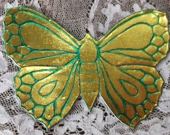 Vintage Golden Butterfly Dresden with Green Highlights