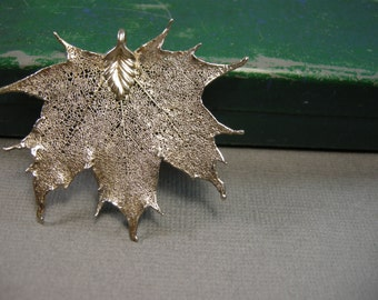 vintage leaf pendant, real leaf dipped in silver, autumn jewelry, maple leaf