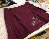 In Stock - Burgandy Celtic Accent Kilt - 44""