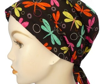 Whimsical Dragonfly Hairloss Headwrap Chemo Cancer Scarf Turban Hat Alopecia