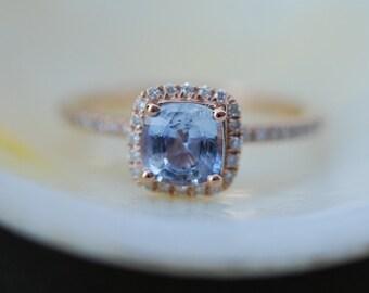 Blue sapphire ring. Square cushion diamond ring. 14k rose gold ring engagement ring by Eidelprecious.