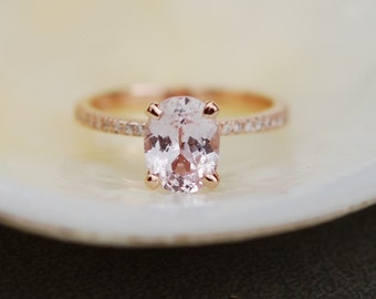 Rose gold engagement ring Peach sapphire diamond ring 14k rose gold oval sapphire no halo ring