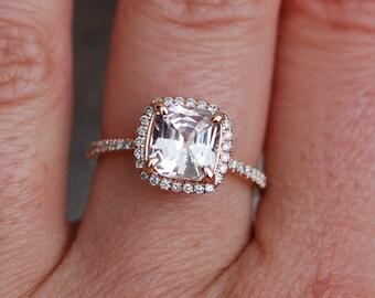 White Sapphire Ring 14k Rose Gold Diamond Engagement Ring 1.6ct Square Cushion Ice Peach sapphire