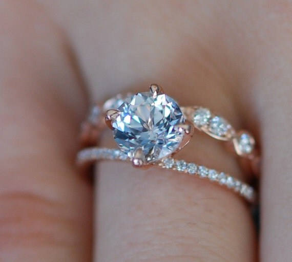 Rose gold engagement ring.  3.03ct round peach sapphire diamond ring. Double split band engagement ring. Engagement rings by Eidelprecious.