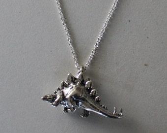 Sterling Silver STEGOSAURUS Pendant and 22 Inch Chain  - 3D - Prehistoric, Dinosau