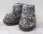 Baby Boy Booties, Newborn Booties, Crochet Booties, Boys Baby Booties, Infant Booties, Grey Baby Booties, Baby Boy Clothes, Baby Crib Shoes