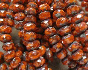 30 Orange Brick Picasso Czech Pressed Glass Small Faceted Rondelles 3mm x 5mm