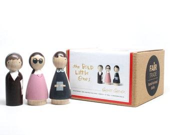 SALE Wooden Peg Dolls // The Bold Little Ones // Fair Trade Educational Wooden Toys Helen Keller, Anne Frank
