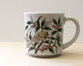 Jay and Berries. Rustic 1970s stoneware coffee mug.