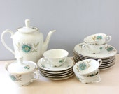 Vintage 1920s Karlskrona Sweden coffee set: coffee pot, sugar bowl, plates, cups and saucers.