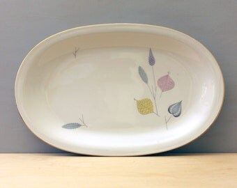 Spring Theme. 1950s German porcelain oval platter by Eschenbach Bavaria.
