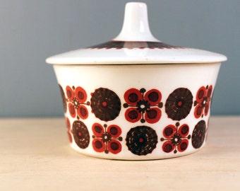 Morocco. Figgjo Flint Norwegian lidded bowl, mid century Scandinavian turi design.