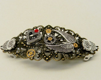 Steampunk jewelry.Steampunk hair barrette.