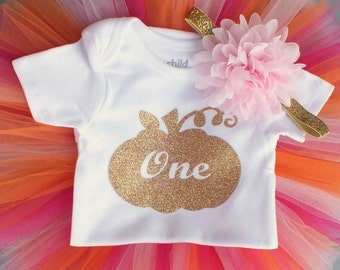 Fall First Birthday Outfit Girl Bodysuit, Fall Cake Smash Outfit Girl Bodysuit, Gold Birthday Pumpkin Bodysuit, 1st Birthday Outfit Girl