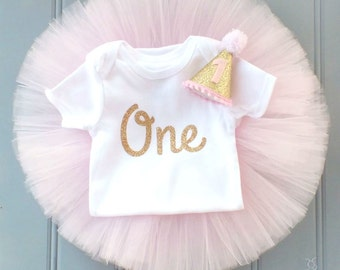 Pink and Gold First Birthday Outfit Girl, 1st Birthday Outfit, Cake Smash Outfit Girl, First Birthday Tutu, 1st Birthday Tutu, SEWN Tutu Set