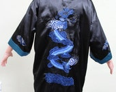 VINTAGE Asian, Japanese, Men's Robe, Kimono, Silk with Dragons, Reversible, L, Costume,