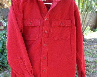 VINTAGE LL Bean Mens workshirt/jacket, Red cotton heavyweight, hunting, outerwear, flannel