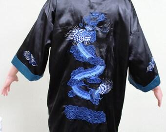 VINTAGE Asian, Japanese, Men's Robe, Kimono, Silk with Dragons, Reversible, L, Costume,