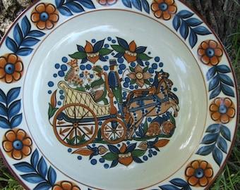 Vintage Hoganas Keramik Gille Sweden Folk Art Stoneware Bowl