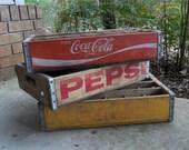 3 Soda Crates Rustic Wooden Crate Coke Crate Pepsi Crate Farmhouse Primitive Cabin Decor Yellow Pepsi Box Red Coke Box Drink Box Set of 3