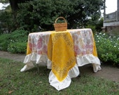 Ruffled Fall Tablecloth 72 x 72 Square Ruffled Tablecloth READY to SHIP Handmade Tablecloth Rustic Wedding Decorations Western Tablecloth