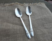 2 Silver Serving Spoons FIRST LOVE Vintage Flatware Silver Plate Wedding Decorations Table Decor SIlverplate Flatware French Prairie