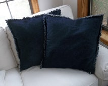 Set 2 Denim Pillows Ready to Ship Raggedy Chambray Pillow Covers Euro Pillow Shams Farmhouse Decorative Pillows Custom Sizes Available
