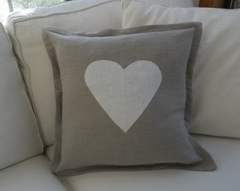 Neutral Valentine Pillow  Heart Pillow Valentine Decor Fall Pillows Neutral Christmas Pillows Pumpkin Pillow Custom Linen Pillows
