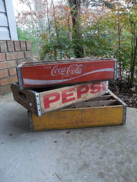 3 Soda Kisten rustikale Holzkiste Coke Kiste Pepsi von misshettie